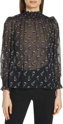 BA&SH Malawi Tumbling Blossoms Silk Georgette Blouse