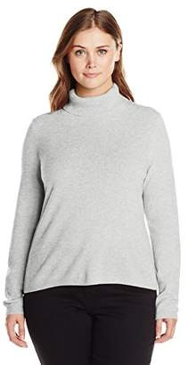 Lark & Ro Women's Plus Size 100% Cashmere Soft Slim Fit Turtleneck Sweater