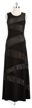 Calvin Klein Sleeveless Eyelet Accented Gown