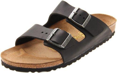 Birkenstock Unisex Arizona Sandal,Black Oiled Leather,46 N EU