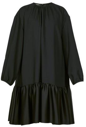 Rochas Tie Back Gathered Crepe Dress - Womens - Black