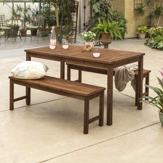 Manor Park Acacia Wood Simple 3 Piece Patio Dining Set - Dark Brown
