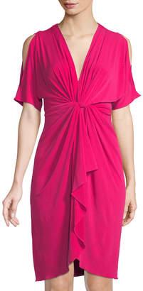 Catherine Malandrino Short-Sleeve Cold Shoulder Dress W/Twist