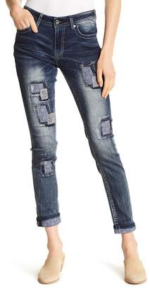 Grace In LA Denim Easy Fit Embroidered Patch Skinny Jeans