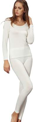 Off-White Liang Rou Women's Crewneck Ultra-Thin Long Johns Underwear Set Navy Blue M