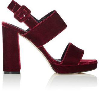 Barneys New York Women's Double-Band Platform Sandals-BURGUNDY $325 thestylecure.com