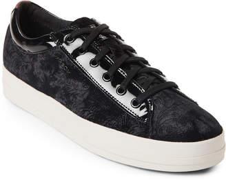Geox Black Hidence Velvet Platform Sneakers