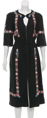 Vilshenko 2017 Embroidered Midi Dress