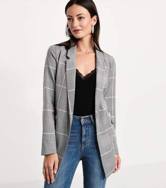 Dynamite Double-Breasted Plaid Blazer GREY/WHITE CHECK