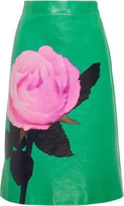 Prada Floral-Print Leather Skirt Size: 38