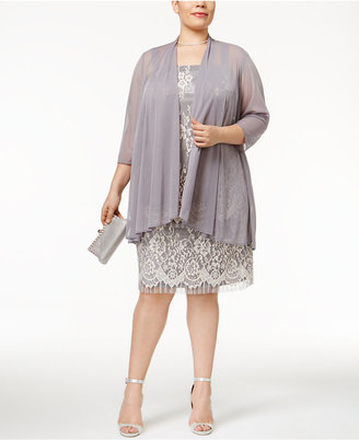 R&M Richards Plus Size Lace Dress with Sheer Chiffon Jacket $99 thestylecure.com