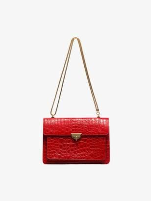 Dries Van Noten red snakeskin effect leather shoulder bag