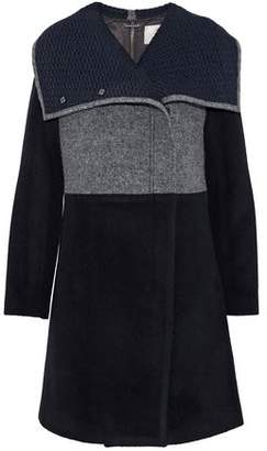 Ashley B. Zip-Detailed Paneled Wool-Blend Coat