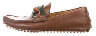 Gucci Bamboo Web Driving Loafers