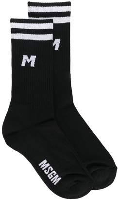 MSGM contrast logo socks