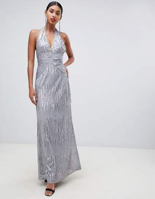 617bbbdbbae TFNC sequin maxi dress with open back in silver