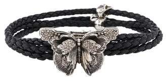 Alexander McQueen Crystal Butterfly Braided Leather Bracelet