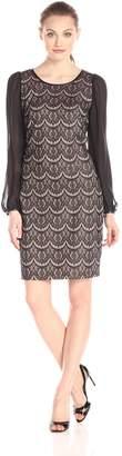 Donna Ricco Women's Sheer Long Sleeve Lace Sheath Dress, Black/Taupe