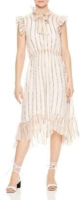 Sandro Maki Ruffled Metallic-Stripe Midi Dress