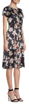 St. John Floral Silk A-Line Tie-Neck Dress