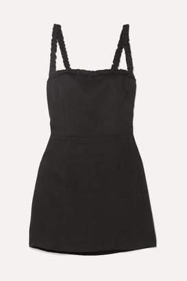 Reformation Janie Ruffled Linen Mini Dress - Black