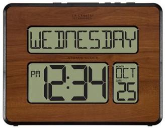 La Crosse Technology 513-1419-WA Atomic Full Calendar Digital Clock with Extra Large Digits, Walnut