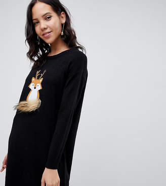 cfdf46ae3f1 Brave Soul Tall foxie christmas sweater dress