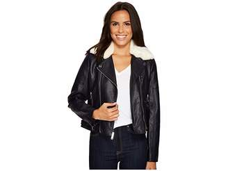 French Connection Faux Leather Moto Jacket with Shearling Collar Women's Coat