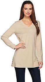 Susan Graver Dolce Knit Long Sleeve Tunic withButton Detail