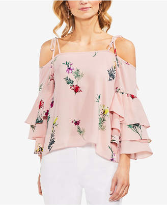Vince Camuto Cold-Shoulder Tiered-Sleeve Top