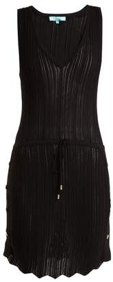 Melissa Odabash Arianna Deep V Neck Pointelle Knit Dress - Womens - Black