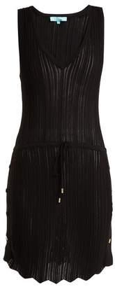 Melissa Odabash Arianna Deep V Neck Pointelle Knit Dress - Womens - Black