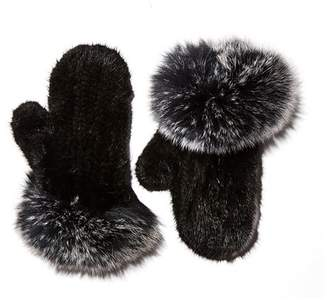 Maximilian Furs Knit Mink Fur Mittens with Fox Fur Trim