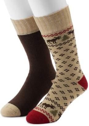 Croft & Barrow Men's 2-Pack Patterned Extended Size Crew Socks