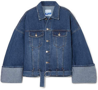 Sjyp Oversized Denim Jacket - Blue