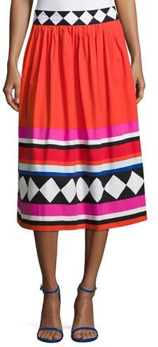 Kate Spade New York Geo Border-Print Poplin Midi Skirt