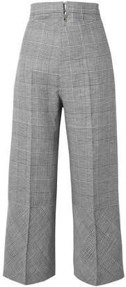 Antonio Berardi Prince Of Wales Checked Wool-blend Wide-leg Pants