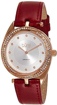Burgi Women's BUR122BUR Diamond & Crystal Accented Swirl Design Rose Gold and Red Leather Strap Watch