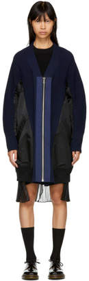 Sacai Navy and Black MA-1 Knit Cardigan