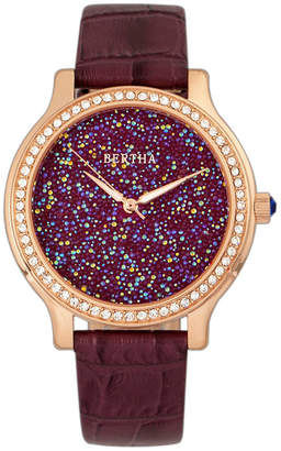 Bertha Quartz Cora Collection Plum Leather Watch 40Mm