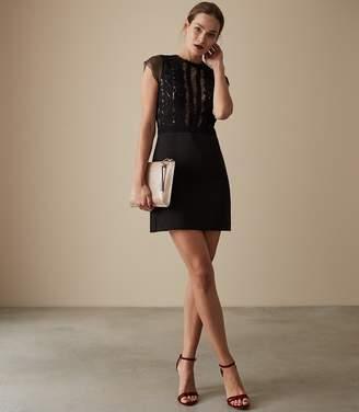 Reiss VERIANA LACE BODICE DRESS Black