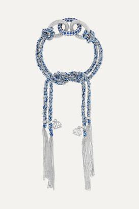 Carolina Bucci Lucky Balance 18-karat White Gold, Sapphire And Silk Bracelet