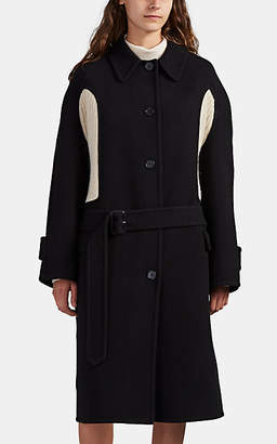 J.W.Anderson Women's Knit-Inset Wool-Cashmere Coat - Black