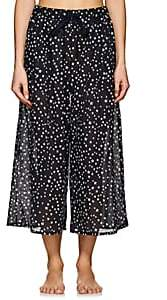 Castle & Hammock Women's Star-Print Cotton-Linen Crop Pants - Dk. Blue