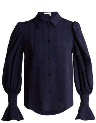 See by Chloe Bishop Sleeve Checked Cotton Shirt - Womens - Navy