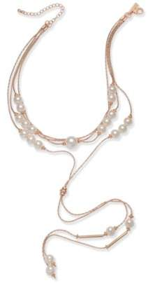 "INC International Concepts I.N.C. Rose Gold-Tone Imitation Pearl Multi-Strand Lariat Choker Necklace, 14"" + 3"" extender, Created for Macy's"