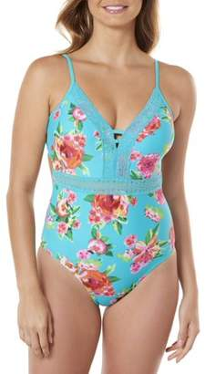 Time and Tru Women's Lace Front Floral Print One-Piece Swimsuit