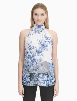 Calvin Klein printed chiffon halter neck top