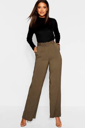 boohoo Tall Belted Wide Leg Trouser