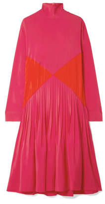 Cédric Charlier Color-block Pleated Crepe Midi Turtleneck Dress - Pink